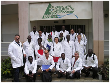 Senegal Training of Trainers participants and trainers outside CERES/Locustox lab, Dakar, Senegal